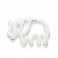 SILVER / CZ PATIENT, STRONG, GOOD LUCK ELEPHANT