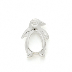 SILVER / CZ PENGUIN - They mate for life !