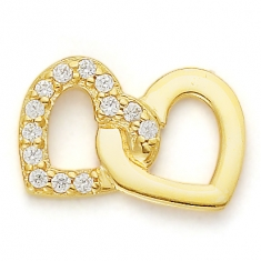 GOLD / CZ 2 HEARTS FOREVER