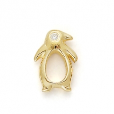 GOLD / CZ PENGUIN - They mate for life !