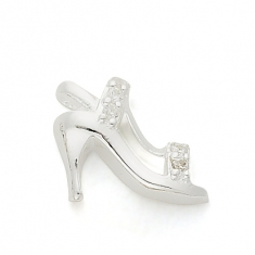 SILVER / CZ HIGH HEEL SHOE - STILETTO