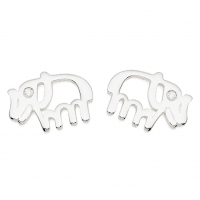 Silver Elephant / CZ Earrings