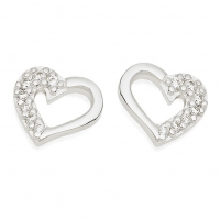 Silver Open Heart / CZ Earrings