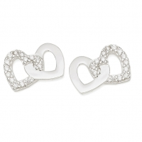 Silver 2 Heart / CZ Earrings
