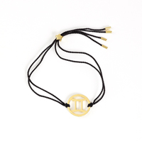 Gemini Zodiac Gold-black cord
