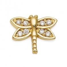 Gold Dragonfly / CZ Earrings