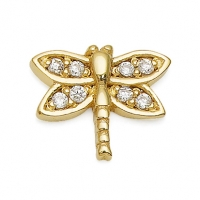 Gold Dragonfly / CZ Earrings