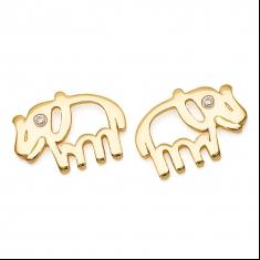 Gold Elephant / CZ Earrings