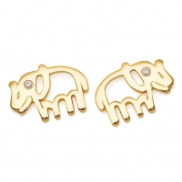 Gold Elephant / CZ Earrings