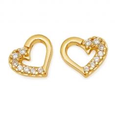 Gold Open Heart / CZ Earrings
