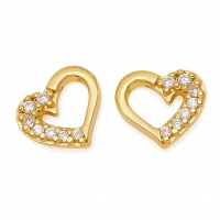 Gold Open Heart / CZ Earrings