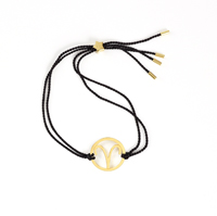 Aries Zodiac Gold-black cord