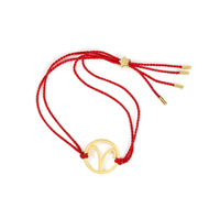 Aries Zodiac Gold-red cord