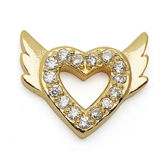 GOLD / CZ  WINGED HEART
