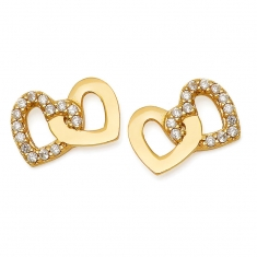 Gold 2 Heart CZ Earrings